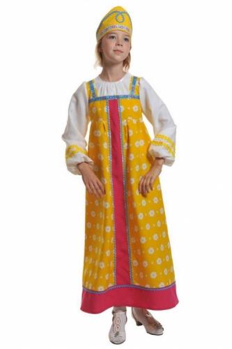 Карнавальный костюм Алёнушка в жёлтом (сарафан, кокошник) 5-7 лет