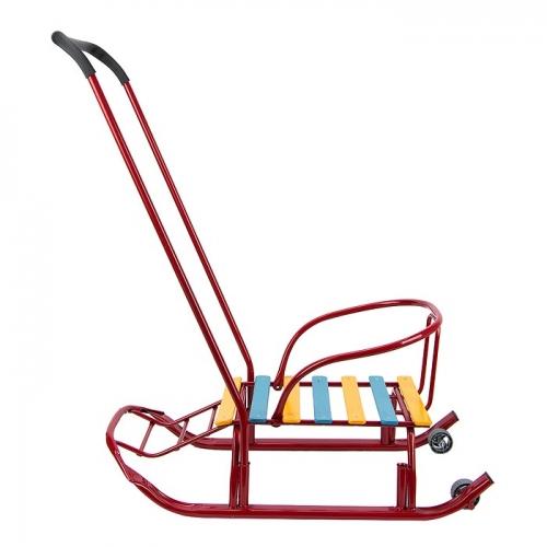 Санки Galaxy Мишутка 2 с колесами, цвет красный