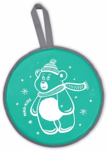 Ледянка Nika мягкая  диаметр 40 см рисунок Медвежонок, цвет зеленый