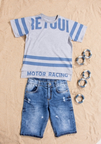 Костюм шорты с футболкой для мальчика, размер 6 лет, серый, Bebus