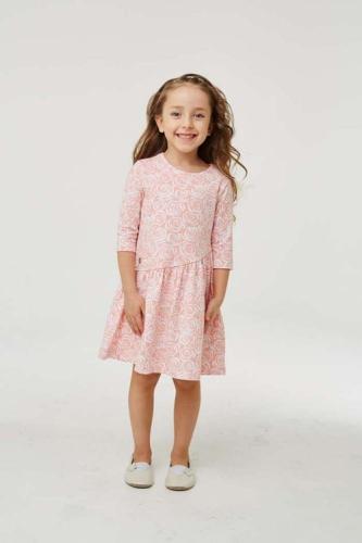 Платье для девочки размер 128, розовое с розами, УМКА