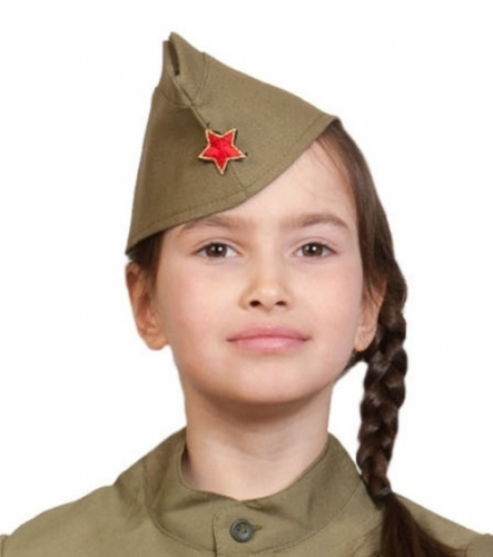 Пилотка ХАКИ звезда металлическая карнавальная детская, р.53-55