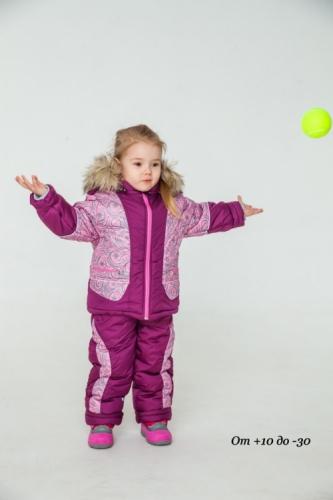 Комплект для девочки демисезонный, бордовый/розовый принт, р. 24 (рост 80-86), MODUS Kids Аляска