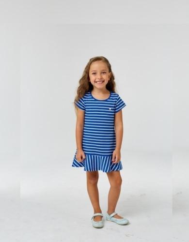 Платье для девочки р.116, бело-синее в полоску UMKA