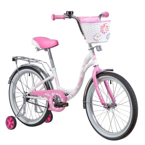 Велосипед Novatrack Butterfly, белый/розовый, рама 20
