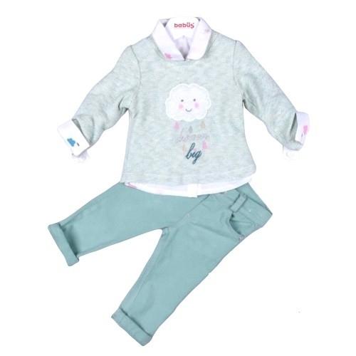Комплект 3 предмета для девочки, размер 18 месяцев, фисташковый, Bebus