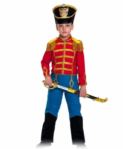 Карнавальный костюм Гусар (замш) красно-синий с сапогами new, 5-7 лет