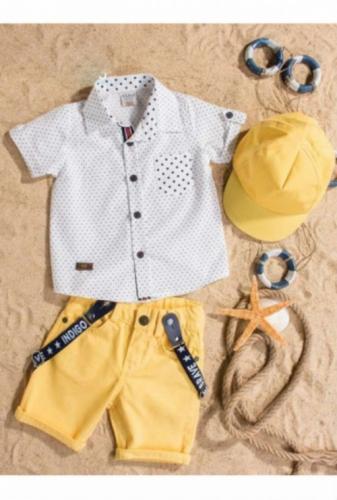 Комплект Bebus белый/желтый с головным убором, размер 24 месяцев