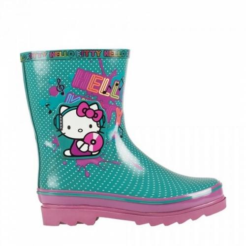 Сапоги велингтон Hello Kitty бирюзовый/фиолетовый, размер 33 (210 мм)
