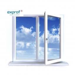 Окно ПВХ Exprof 1300х1400 мм двухстворчатое ЛГ/ППО 3 стеклопакет