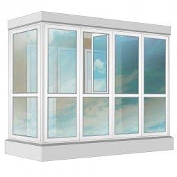 Остекление балкона ПВХ Exprof в пол 3.2 м Г-образное