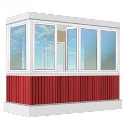 Остекление балкона ПВХ Rehau с отделкой ПВХ-панелями с утеплением 3.2 м Г-образное