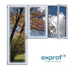 Балконный блок ПВХ Exprof 2100х2100 мм 2-ЛГ-ПП 3 стеклопакет
