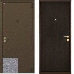 Стальная дверь Гардиан Фактор К серый/темный венге правая замок Г1201 + отверстие под 1211 980x2050 мм